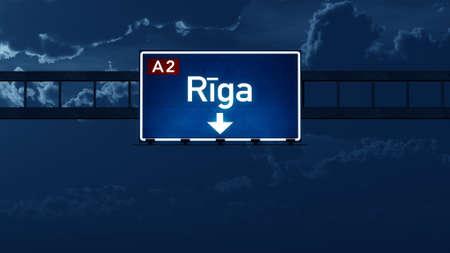 highway night: Riga Latvia Highway Road Sign at Night 3D artwork