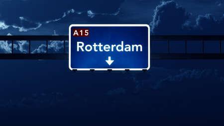 highway night: Rotterdam Netherlands Highway Road Sign at Night 3D artwork