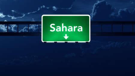 nightfall: Sahara Africa Highway Road Sign at Night 3D artwork