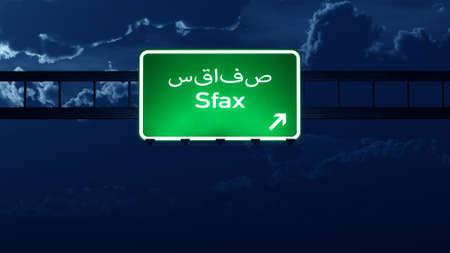 road night: Sfax Tunisia Highway Road Sign at Night 3D artwork