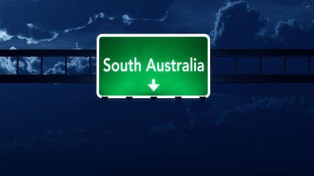 nightfall: South Australia Highway Road Sign at Night 3D artwork Stock Photo