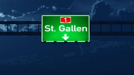 st gallen: St Gallen Switzerland Highway Road Sign at Night 3D artwork