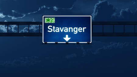 nightfall: Stavanger Norway Highway Road Sign at Night 3D artwork