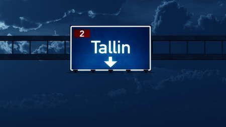road night: Tallin Estonia Highway Road Sign at Night 3D artwork Stock Photo