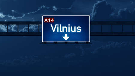 nightfall: Vilnius Lithuania Highway Road Sign at Night 3D artwork