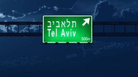 tel: Tel Aviv Israel Highway Road Sign at Night 3D artwork