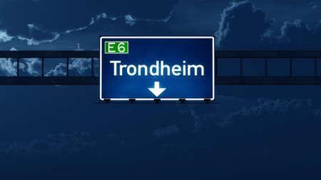highway night: Trondheim Norway Highway Road Sign at Night 3D artwork Stock Photo