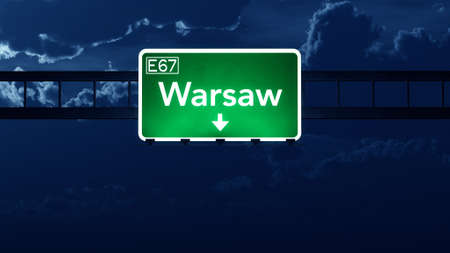 warsaw: Warsaw Poland Highway Road Sign at Night 3D artwork
