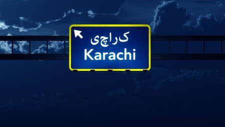 karachi: Karachi Pakistan Highway Road Sign at Night 3D artwork