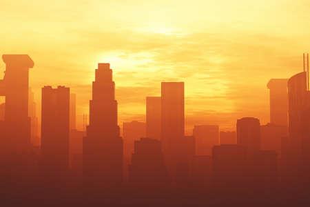 metropolis: Huge Smoggy Metropolis in the Sunset Sunrise 3D artwork illustration