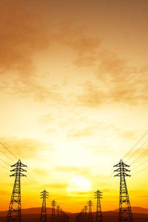3d animation: High Voltage Electric Poles in the Sunset Sunrise 3D artwork illustration