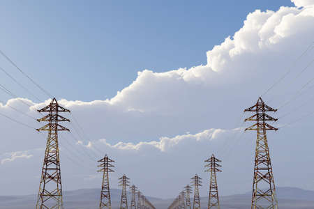 3d animation: High Voltage Electric Poles under Blue Cloudy Sky 3D artwork