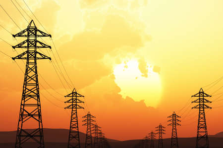 transformator: High Voltage Electric Poles in the Sunset Sunrise 3D artwork illustration