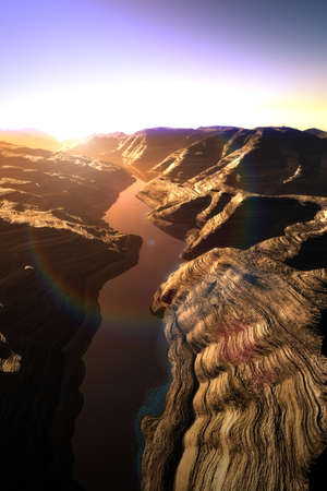 subduction: Aerial shot of a Canyon with a Natural Fault Drainage Basin Lake 3D Artwork Illustration Stock Photo