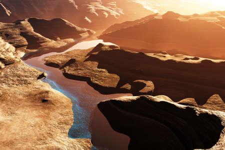 drainage: Aerial shot of a Canyon with a Natural Fault Drainage Basin Lake 3D Artwork Illustration Stock Photo