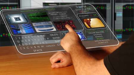 Man using Futuristic Smart Wrist Watch that is projecting a semi-transparent holographic touch screen