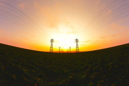 3d animation: High Voltage Electric Poles in the Sunset Sunrise 3D artwork illustration fisheye view