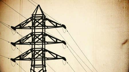 3d animation: High Voltage Electric Poles in the Sunset Sunrise 3D artwork illustration vintage design