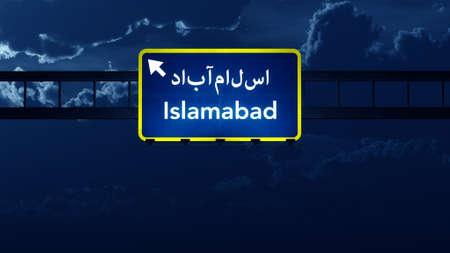islamabad: Islamabad Pakistan Highway Road Sign at Night 3D artwork