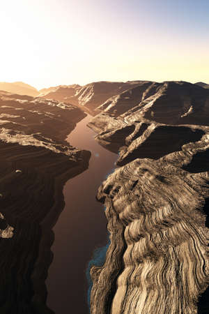 fault: Aerial shot of a Canyon with a Natural Fault Drainage Basin Lake 3D Artwork Illustration Stock Photo