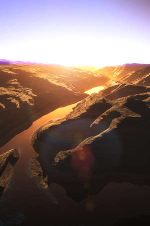 canyon: Aerial shot of a Canyon with a Natural Fault Drainage Basin Lake 3D Artwork Illustration Stock Photo