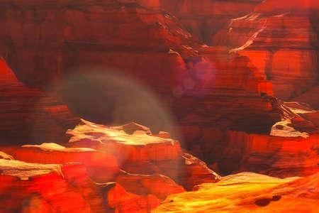 grand canyon: The Grand Canyon in Arizona USA 3D landscape artwork illustration