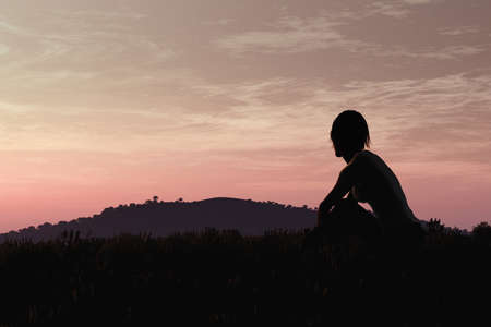 Young Adult Women Sitting on a Hilltop enjoying peaceful harmony with nature in the Sunset Sunrise 3D Artwork Concept of meditation, relaxation, yoga, romance, and natural beauty. Stock Photo