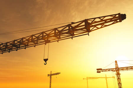 commerce and industry: Huge Construction Cranes in Industrial Zone in Sunset Sunrise 3D Artwork Concept of construction, heavy industry, commerce and architecture.