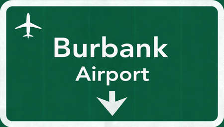 burbank: Burbank USA International Airport Highway Road Sign 2D Illustration Texture, background, element Stock Photo