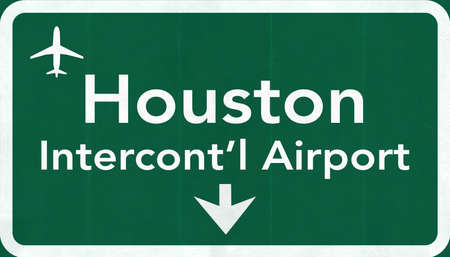 passing the road: Houston George Bush USA Intercontinental  Airport Highway Road Sign 2D Illustration Texture, background, element
