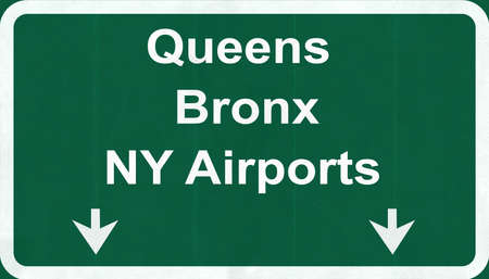 bronx: Queens Bronx NY USA Airports Highway Road Sign 2D Illustration Texture, background, element Stock Photo