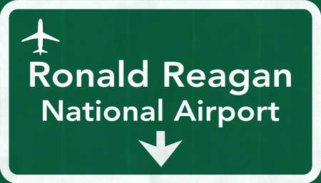 ronald reagan: Washington DC Ronald Reagan USA Airport Highway Road Sign 2D Illustration Texture, background, element