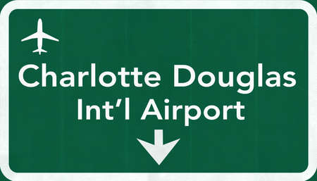 Charlotte Douglas USA International Airport Highway Road Sign 2D Illustration Texture, background, element Stock Photo