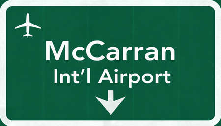 las vegas sign: Las Vegas McCarran USA International Airport Highway Road Sign 2D Illustration Texture, background, element Stock Photo