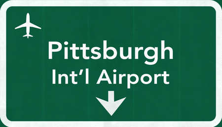 Pittsburgh USA International Airport Highway Road Sign 2D Illustration Texture, background, element