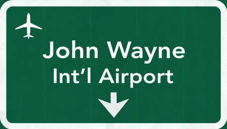 john wayne: Santa Ana John Wayne USA International Airport Highway Road Sign 2D Illustration Texture, background, element