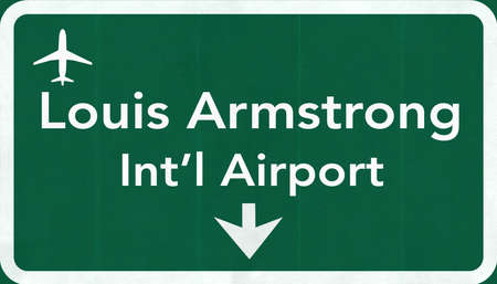 New Orleans Louis Armstrong USA International Airport Highway Road Sign 2D Illustration Texture, background, element Stock Photo