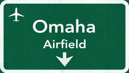 airfield: Omaha USA Airfield Highway Road Sign 2D Illustration Texture, background, element