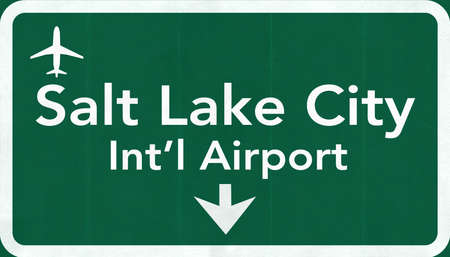 salt lake city: Salt Lake City USA International Airport Highway Road Sign 2D Illustration Texture, background, element Stock Photo