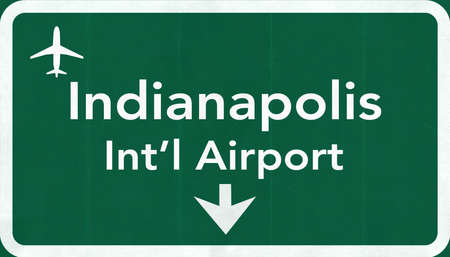passing the road: Indianapolis USA International Airport Highway Road Sign 2D Illustration Texture, background, element