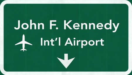 john: New York John Fitzgerald Kennedy JFK USA International Airport Highway Road Sign 2D Illustration Texture, background, element