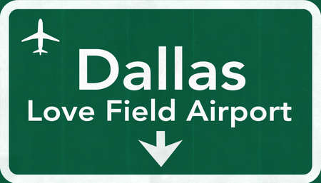 highway love: Dallas Love Field USA International Airport Highway Road Sign 2D Illustration Texture, background, element