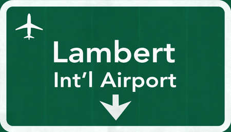 passing the road: Saint Louis Lambert USA International Airport Highway Road Sign 2D Illustration Texture, background, element Stock Photo