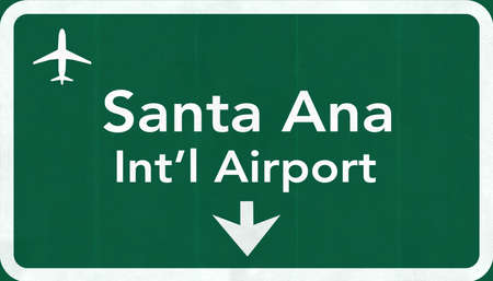 john: Santa Ana John Wayne USA International Airport Highway Road Sign 2D Illustration Texture, background, element