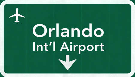 airfield: Orlando USA International Airport Highway Road Sign 2D Illustration Texture, background, element