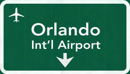 Orlando USA International Airport Highway Road Sign 2D Illustration Texture, background, element