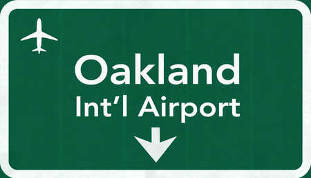 Oakland USA International Airport Highway Road Sign 2D Illustration Texture, background, element Stock Photo