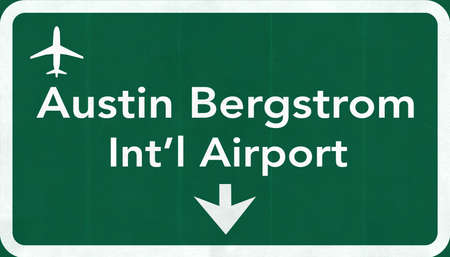 Austin Bergstrom USA International Airport Highway Road Sign 2D Illustration Texture, background, element