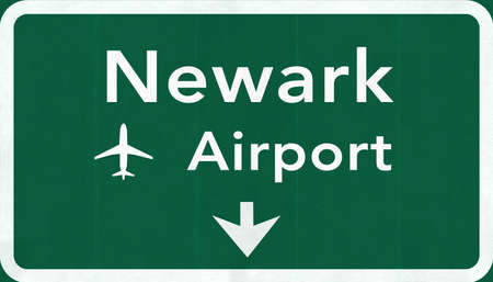 passing the road: New Jersey Newark Liberty USA International Airport Highway Road Sign 2D Illustration Texture, background, element
