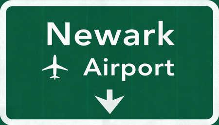 New Jersey Newark Liberty USA International Airport Highway Road Sign 2D IllustrationTexture, background, element Stock Photo
